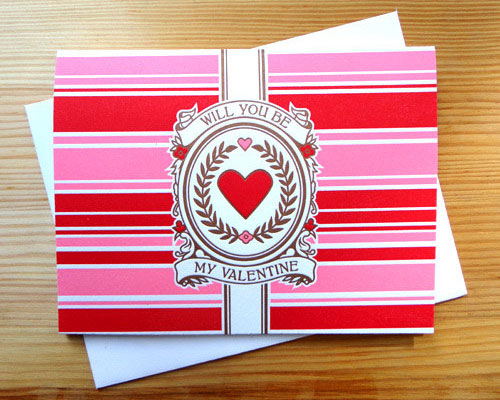 Will You Be My Valentine Letterpress Card by Modern Optic