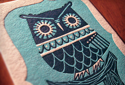 Winter Owl Letterpress Postcard