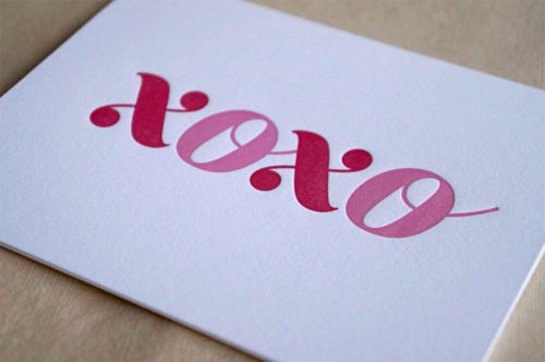 Hug 'n' Kiss Letterpress Card