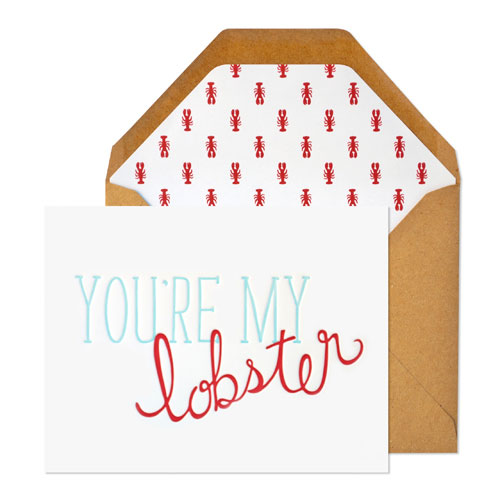 You're My Lobster Letterpress Card by Sugar Paper