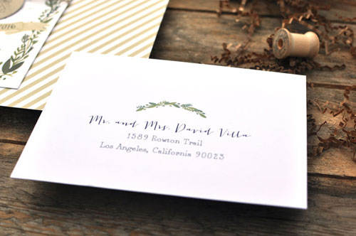 Nature Inspired Wedding Envelope Detail