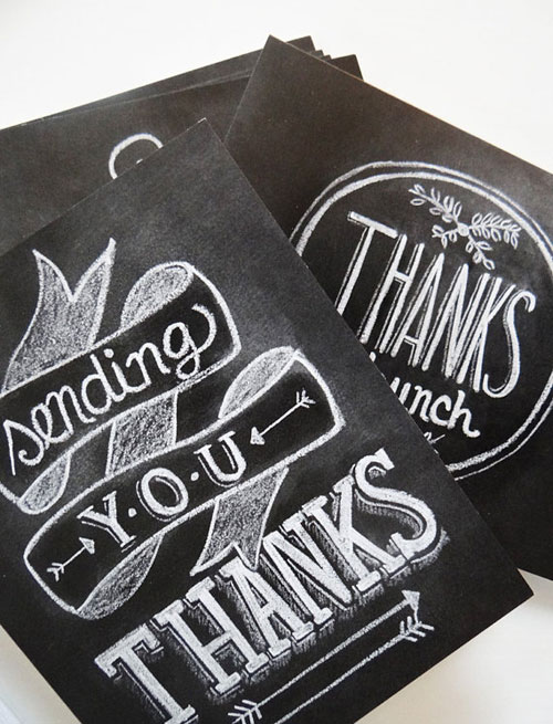 Hand Lettered Chalkboard Thank You Cards | Lily & Val