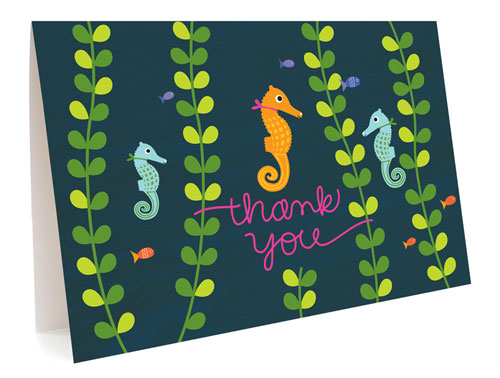 Seahorse Thank You Card by Night Owl Paper Goods