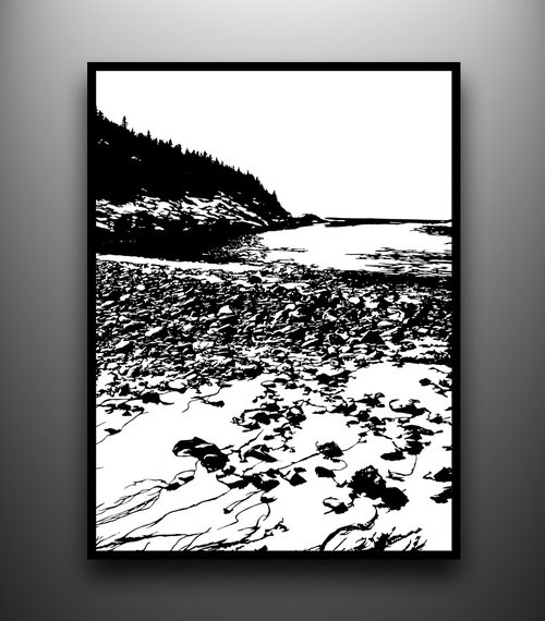Mount Desert Island, Maine Hand Cut Papercut
