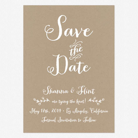 rustic country kraft save the date cards