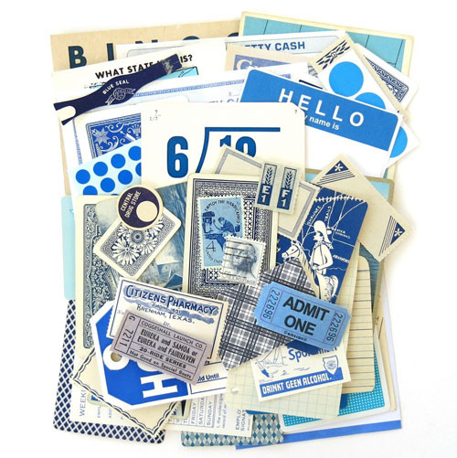 Blue Vintage Ephemera Pack from Saturday Morning Vintage