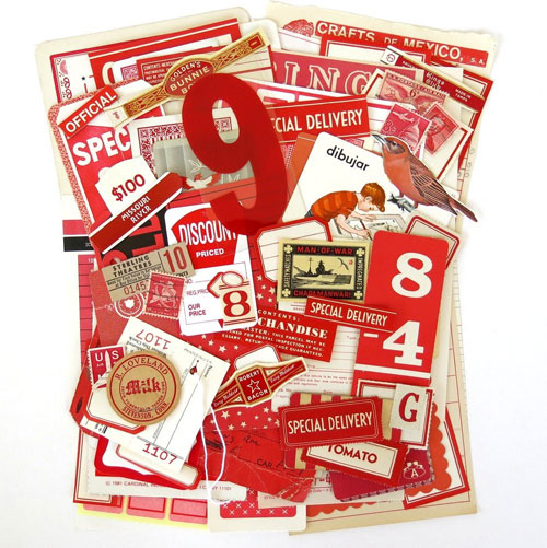 Red Vintage Ephemera Pack from Saturday Morning Vintage