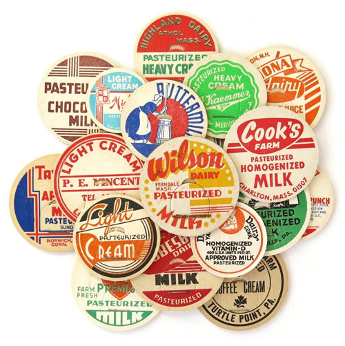 Vintage Milk Caps from Saturday Morning Vintage