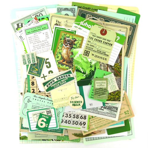 Green Vintage Ephemera Pack from Saturday Morning Vintage