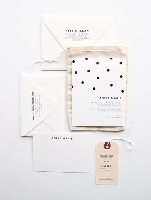 Polka-dot Letterpress Birth Announcements | In Haus Press