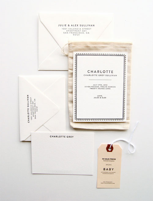 Charlotte Letterpress Birth Announcements | In Haus Press