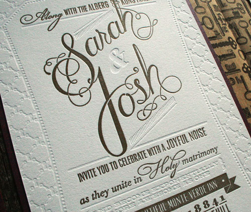 Sarah joshs diy letterpress wedding invitations paper crave diy gold calligraphy letterpress wedding invitations solutioingenieria Image collections