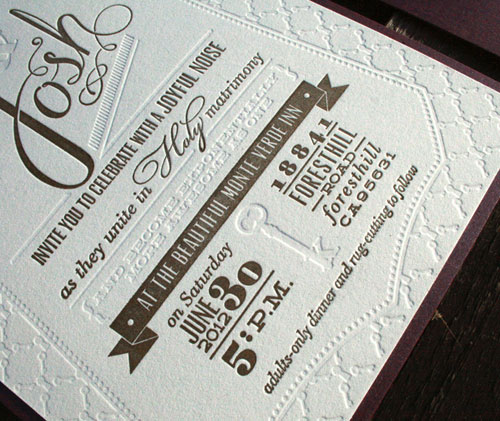 Gold + Blind Debossed Letterpress Wedding Invitations