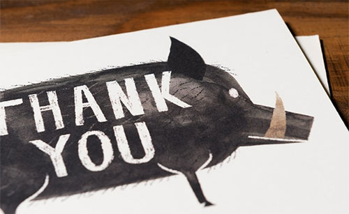Grateful Boar Card | Chris Sasaki for Red Cap Cards