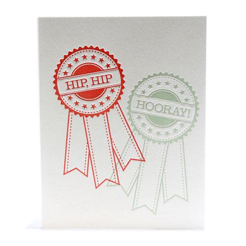 Hip, Hip Hooray Letterpress Card