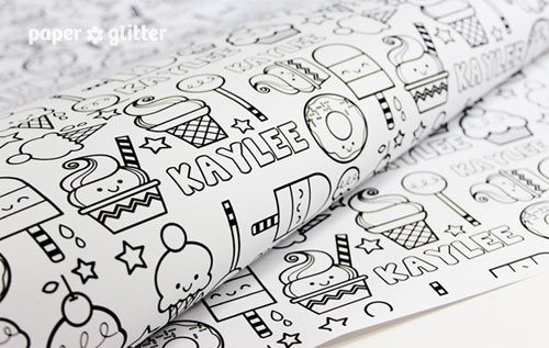 Paper Glitter Printable Personalized Gift Wrap