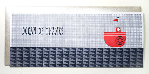 Ocean of Thanks Nautical Letterpress Card | Suzy Ultman + Igloo Letterpress