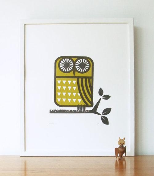Roddy the Owl Screenprint | Roddy & Ginger