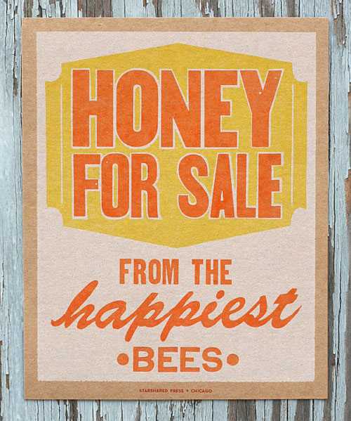 Honey for Sale Letterpress Print | Starshaped Press