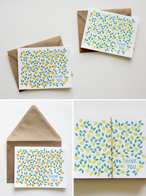 Citrus Letterpress Thank You Cards | Bears Eat Berries