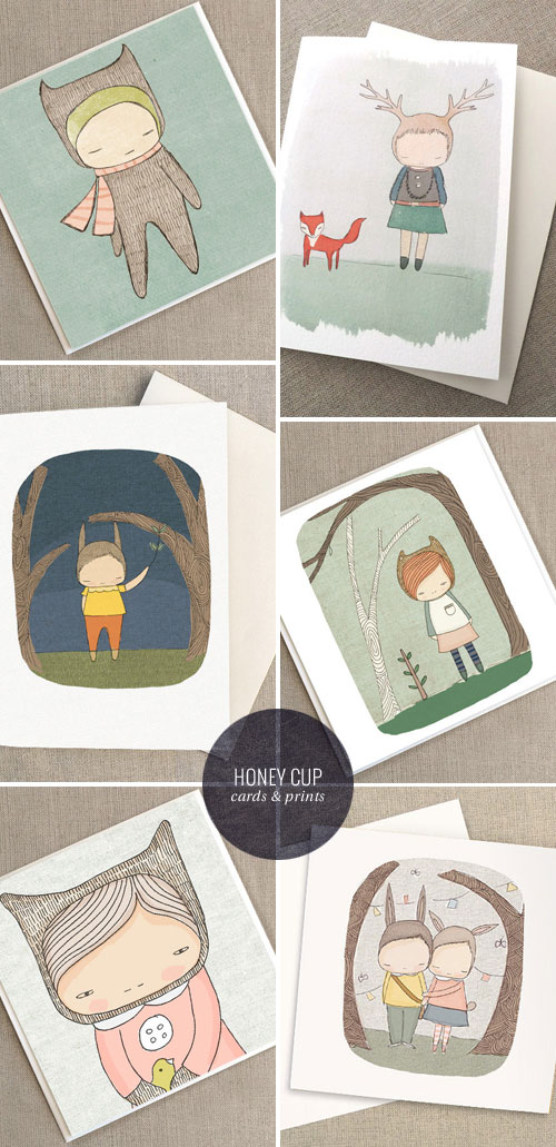 Honey Cup Illustrated Greeting Cards