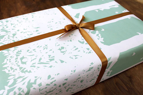 Mint Forest Gift Wrap | Kate & Birdie