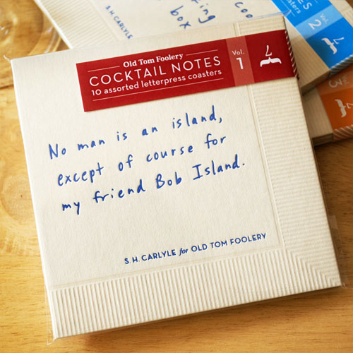 Letterpress Cocktail Notes, Vol. 1 | Old Tom Foolery