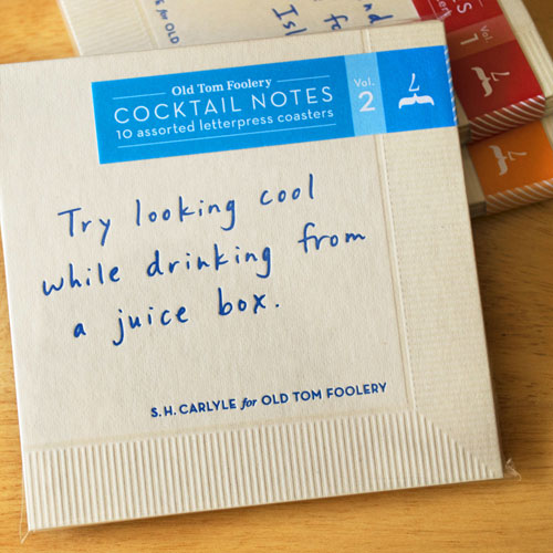 Letterpress Cocktail Notes, Vol. 2 | Old Tom Foolery