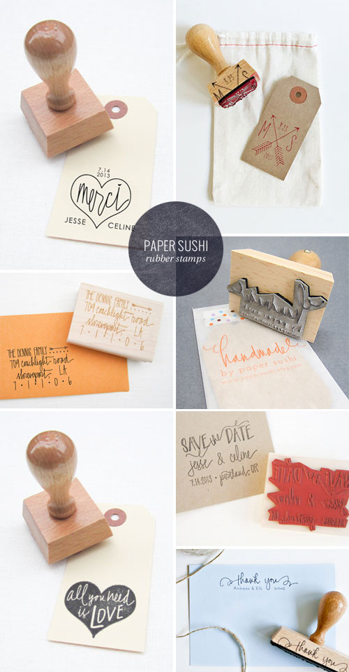 Hand Lettered Rubber Stamps | Paper Sushi