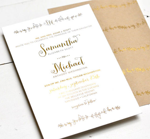 sparrow gold foil stamped invitations smitten on paper - Wedding Invitations Gold