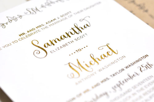 Sparrow Gold Foil Stamped Invitations | Smitten on Paper