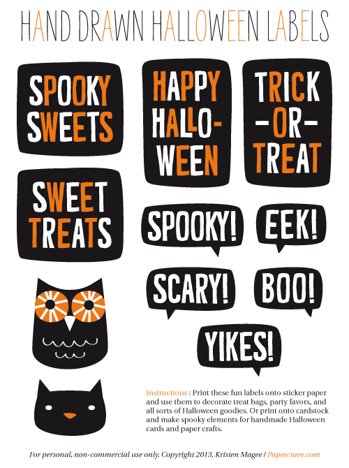 Free Printable Hand Drawn Halloween Labels / Stickers from papercrave.com