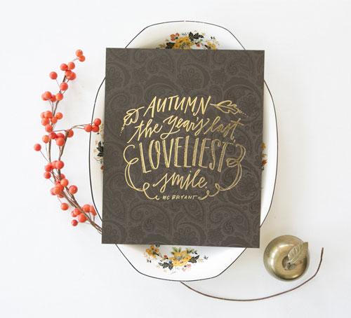 Autumn Foil Stamped Print | Lindsay Letters