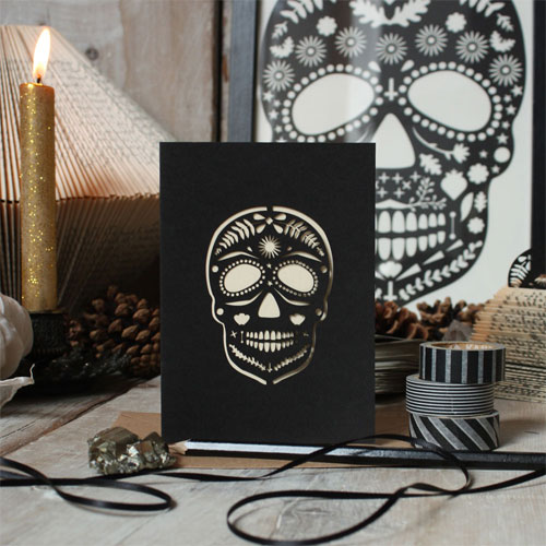 Lasercut Sugar Skull Card | Mr. Yen