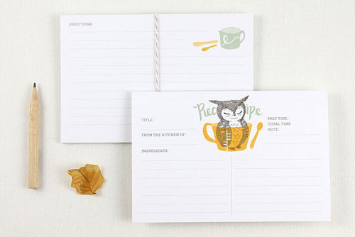 Owl Recipe Cards | Whimsy Whimsical