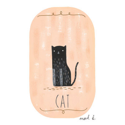 Black Cat Art Print | Winter Smoke