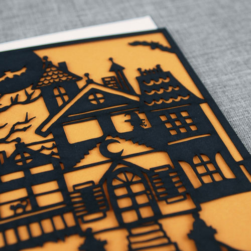 Laser Cut Haunted House Card | Alexis Mattox Design