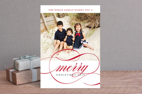 Classic Stripes and Swashes Holiday Photo Cards