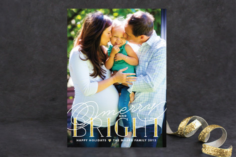 Golden Bright Holiday Photo Cards