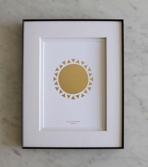 Golden Sun Gold Foil Debossed Print | Honey & Bloom