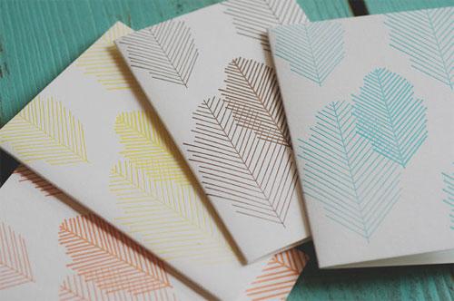 Letterpress Leaf Notecards | 4th Year Studio