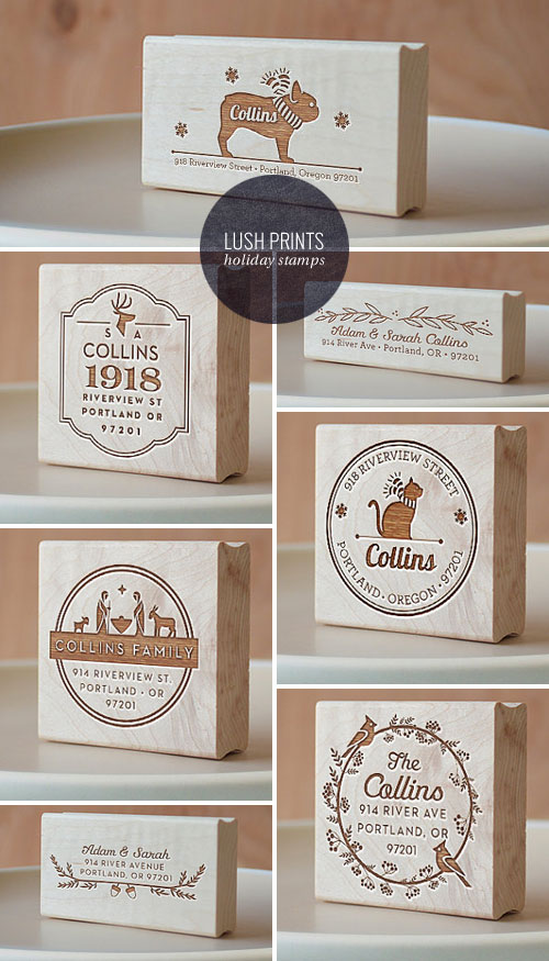 Custom Holiday Return Address Stamps | Lush Prints