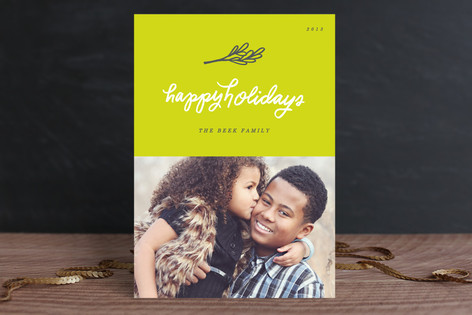 Neon Mistletoe Holiday Photo Cards