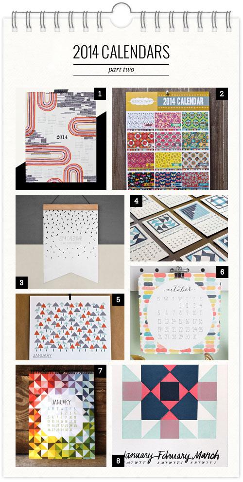 2014 Calendars, Pt. 2 as seen on papercrave.com