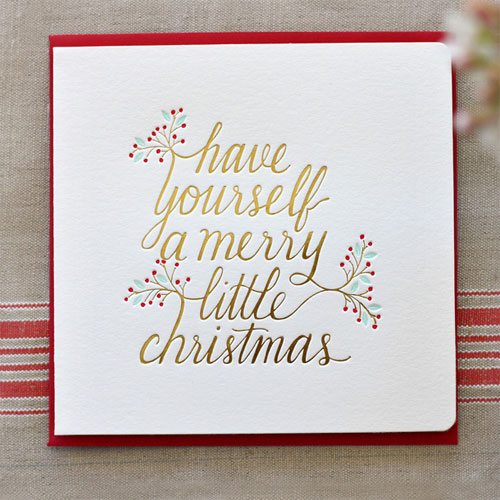 Have Yourself A Merry Little Christmas Gold Foil Stamped Card | Bespoke Press