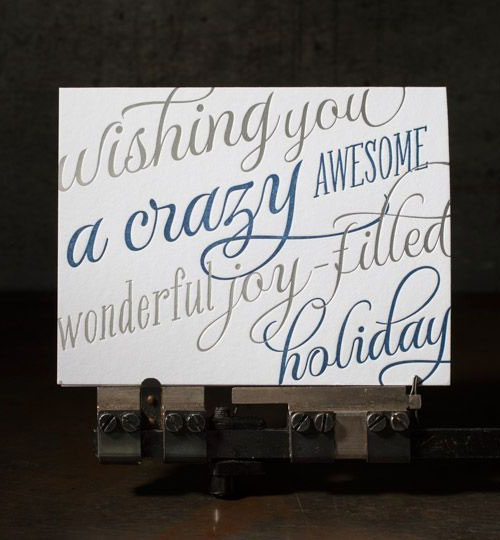 Crazy Awesome Holiday Letterpress Card | Boxcar Press