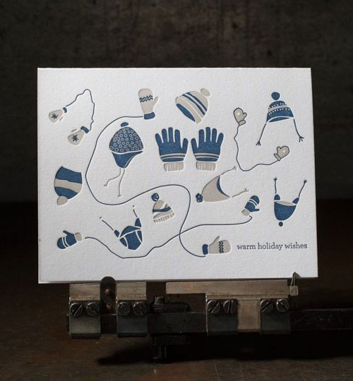 Mittens Holiday Letterpress Card | Boxcar Press