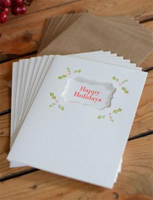 Happy Holidays Holly Letterpress Cards | Chum Chum Press