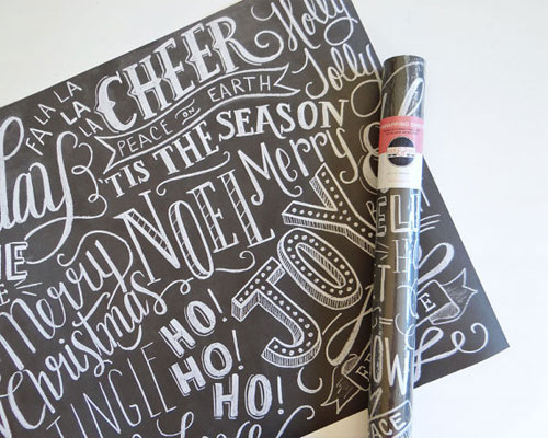 Hand Lettered Holiday Chalkboard Gift Wrap | Lily & Val