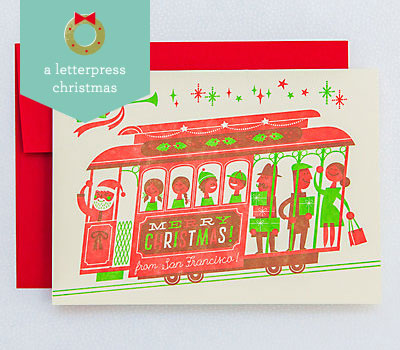 Cable Car Letterpress Christmas Cards | Esther Aarts for Hello! Lucky